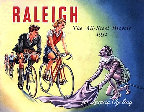 vintage raleigh ad of cyclists and a knight